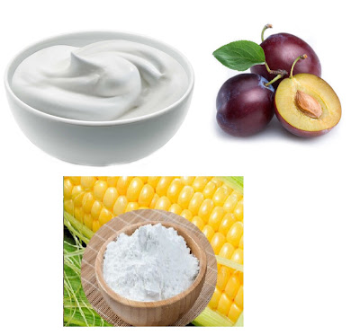 yogurt corn flour and plum for oily skin