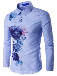 Vogue Ink Print Long Sleeve Men's Shirt