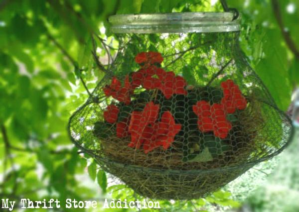repurposed vintage egg basket planter