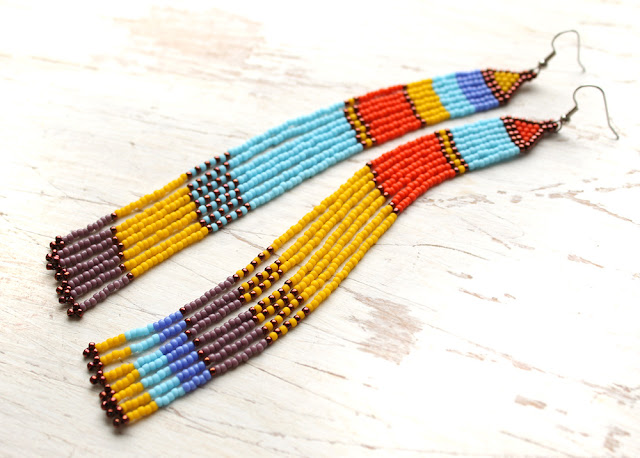 Необычные разноцветные серьги. Очень длинные серьги из бисера. Этно-стиль