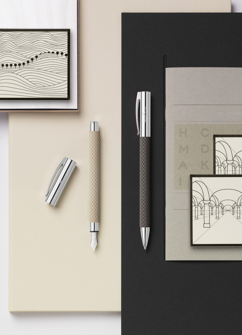 """Faber-Castell AMBITION OpArt """"White Sand"""" Fountain pen and Ballpoint pen"""