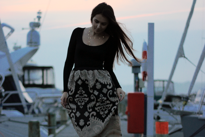 baroque midi skirt fashion blog