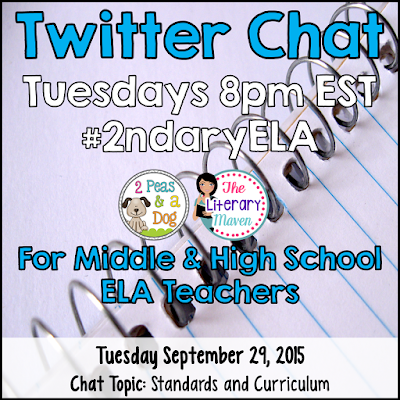 Join secondary English Language Arts teachers Tuesday evenings at 8 pm EST on Twitter. This week's chat will focus on standards and curriculum in the ELA classroom.