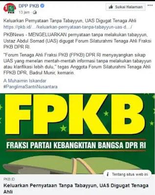 Tanpa Tabayyun Sebut Hanya PAN dan PKS Larang Miras, UAS Diprotes