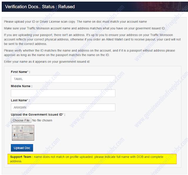 Traffic Monsoon - Account verification step 2
