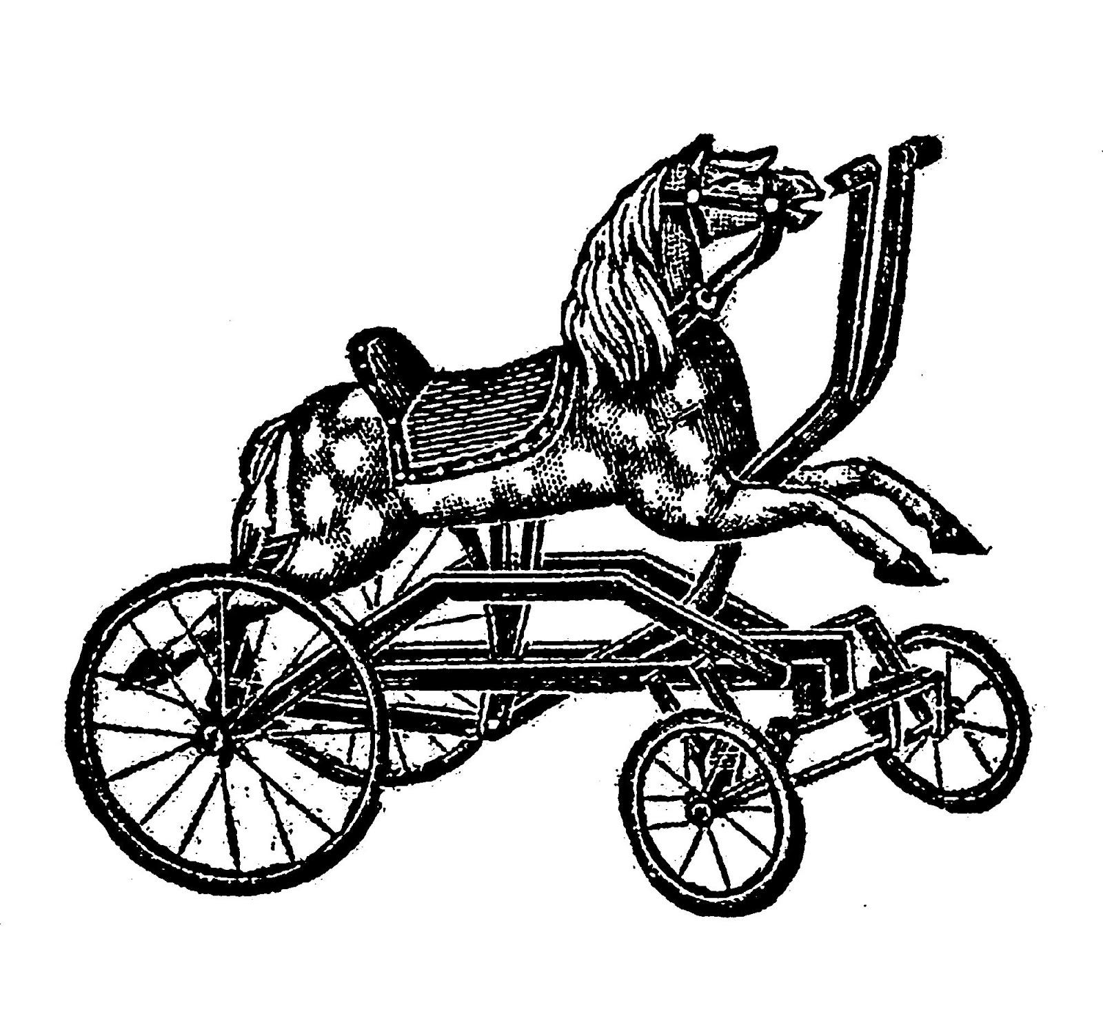 Digital Stamp Design Vintage Free Toy Rocking Horse Child
