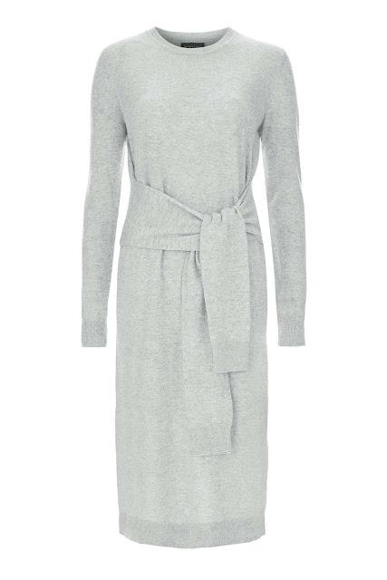 grey tie waist dress, tie waist jumper dress.