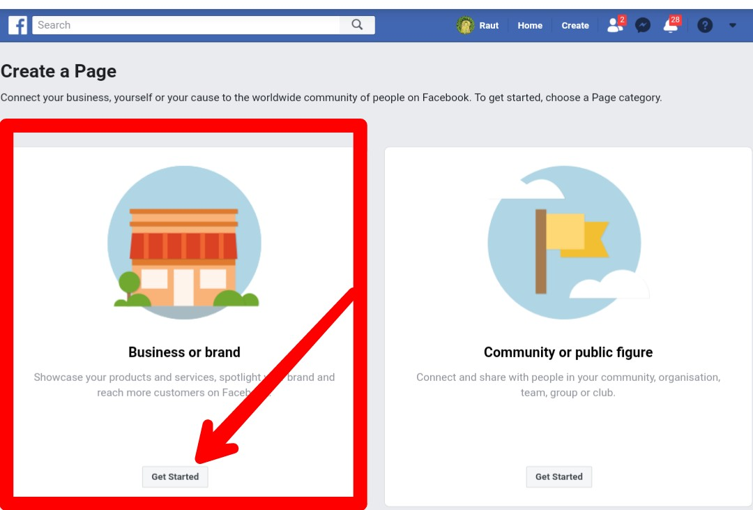 how to create a facebook business page.