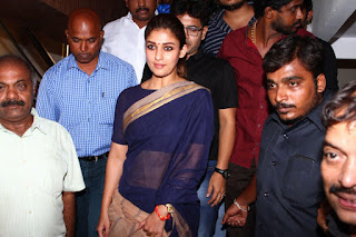 Nayantara in Saree at Chennai Screens of Aramm Promotion