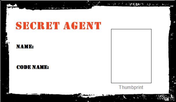 Spy birthday party badge secret agent badge printable id badge.