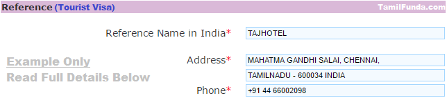 Reference name and address in India visa application for tourists