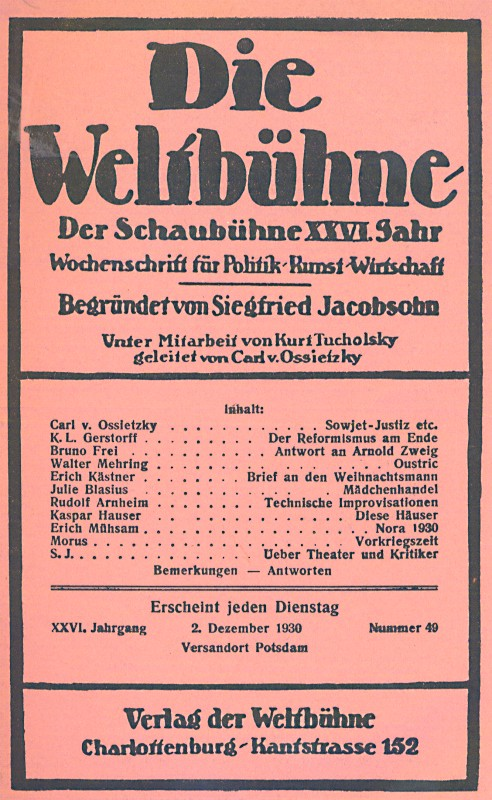 Die Weltbuhne Weimar Berlin