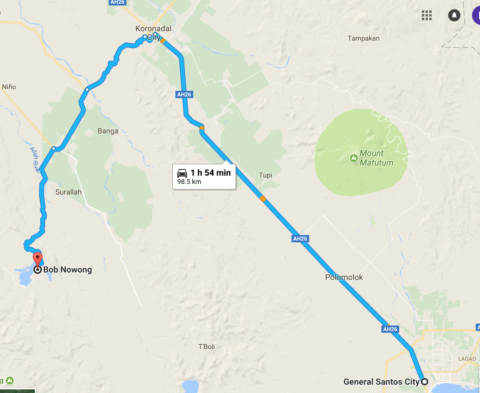 if you are from hearby cities like koronadal and general santos here is the map guide