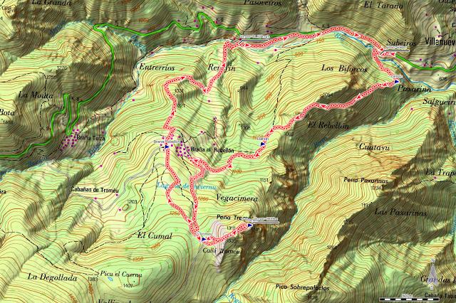 Mapa de la ruta Peña Tromeu y Rebellón