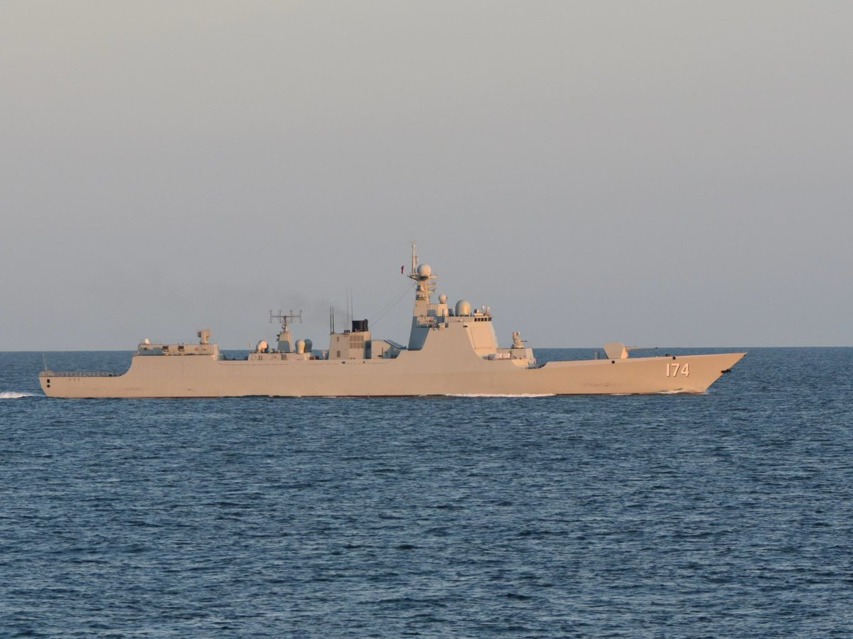 Chinese Task Group Passing North Sea on chinese ddg 052d destroyer 2