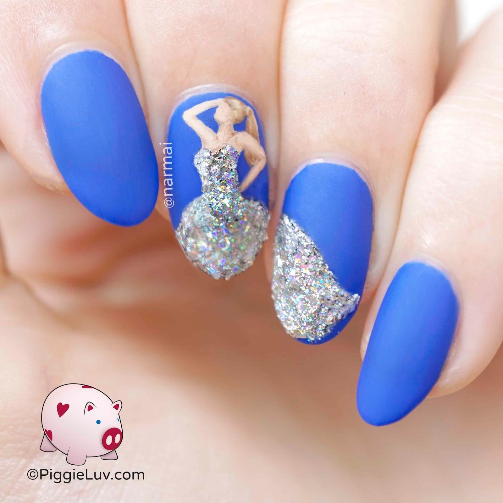 PiggieLuv: Holo diamond dress nail art