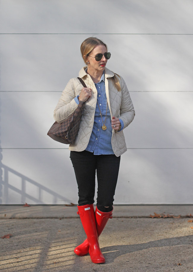 jcrew jacket, louis vuitton never full bag, hunter boots