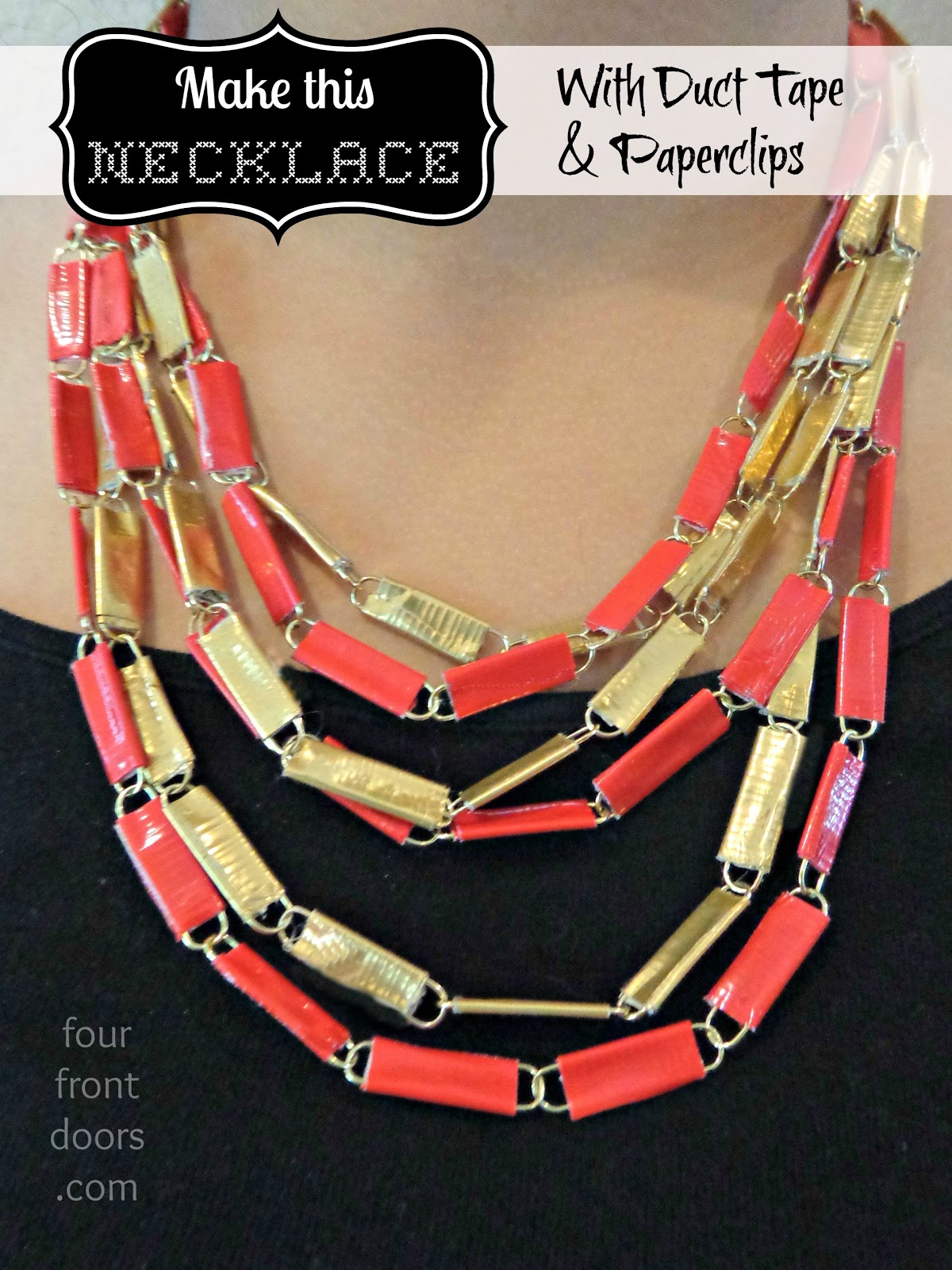 Four Front Doors Duct Tape And Paperclip Necklace Tutorial