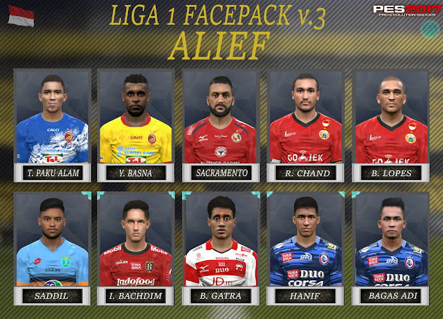 PES 2017 Liga 1 Gojek Traveloka Facepack V3 dari Alief