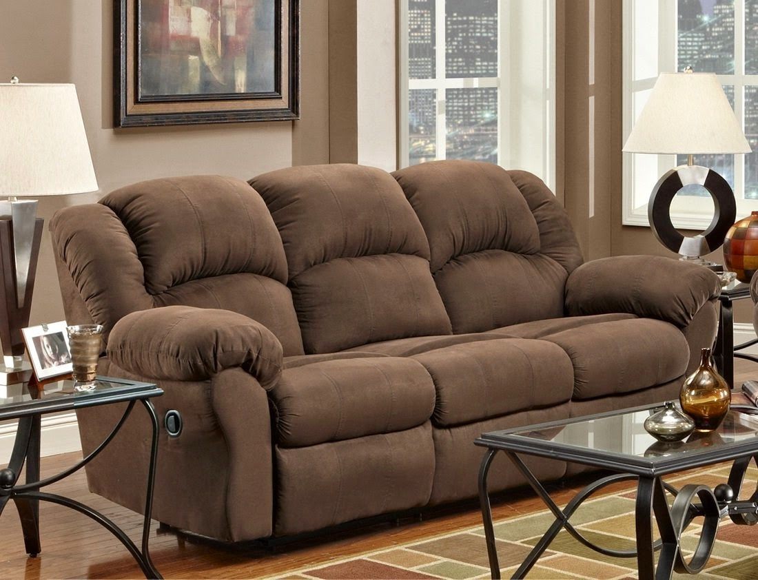 Chocolate Aruba Microfiber Dual Reclining Couch : brown recliner sofa - islam-shia.org