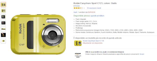 Kodak Easyshare Sport C123, colore: Giallo