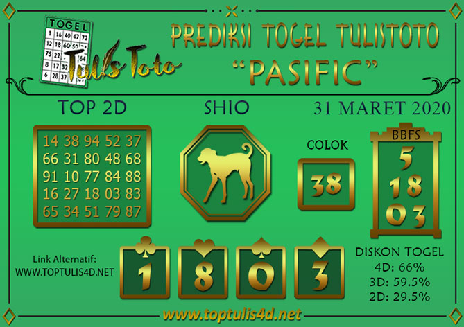 Prediksi Togel PASIFIC TULISTOTO 31 MARET 2020