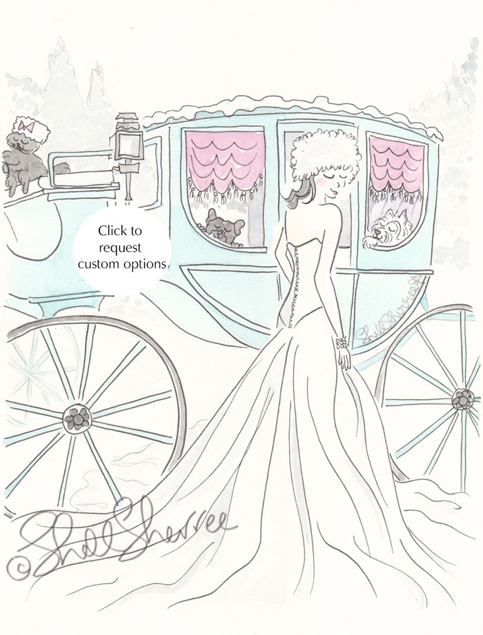 Snow Queen, Aqua Carriage fashion & fluffballs illustration © Shell Sherree all rights reserved