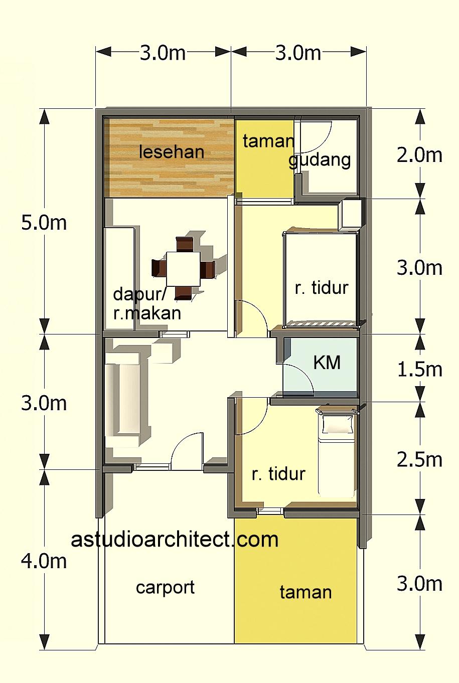 Denah Rumah Sederhana Ukuran 6x9 Top Rumah