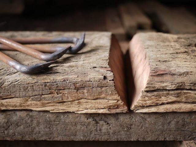 中古枕木 スライス カット 斜め かすがい 販売 加工 枕木
