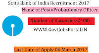 State Bank India Recruitment for 2400+ PO Posts 2017