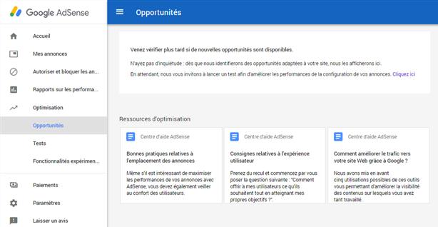 AdSense - Optimisation - Opportunités