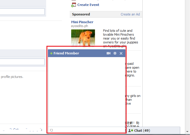 Chat box in facebook