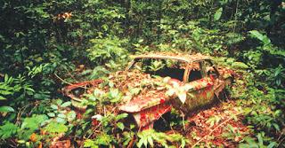Chevrolet Corvair abandonado en la selva de Darién