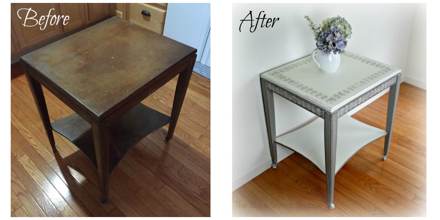 Vintage mid-century side table: before and after.