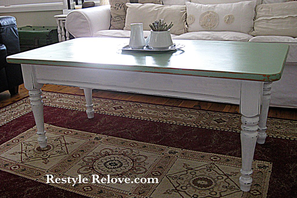 shabby chic green coffee table restyle. Black Bedroom Furniture Sets. Home Design Ideas