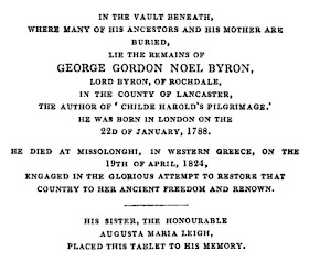 Memorial in Hucknall Church  from The Works of Lord Byron (1833)