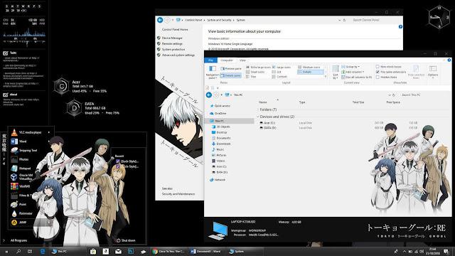Windows 10 Ver. 1803 Theme Tokyo Ghoul:re by Bashkara