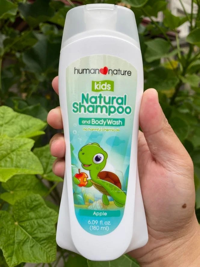 A bottle of Human Nature Kids Natural Shampoo and Body Wash