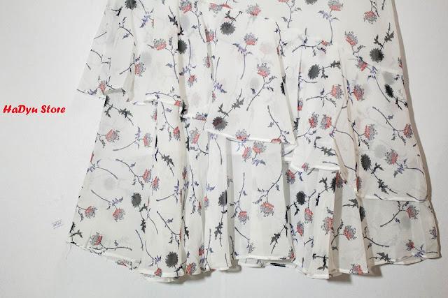Đầm hoa hai dây xếp tầng babi Hadyu Store mẫu Uniqua Un03D