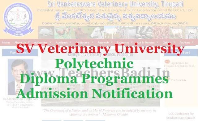 SV Veterinary University,Polytechnic Diploma Programmes,Admission 2016 Notification
