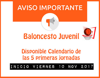 BALONCESTO JUVENIL: Disponible calendario 5 primeras jornadas y campos de juego