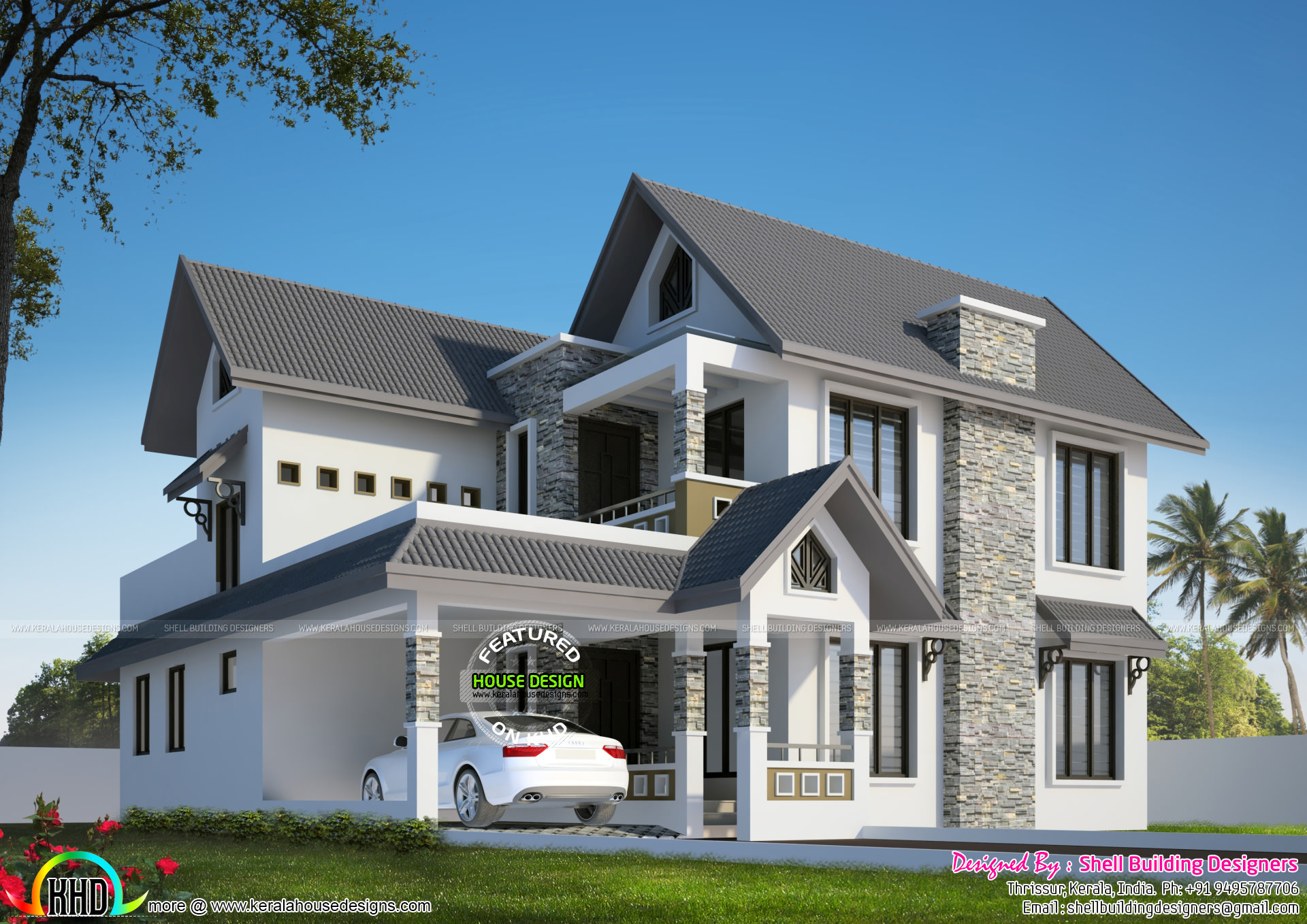 Beautiful Sloping Roof 2850 Sq ft Home Kerala