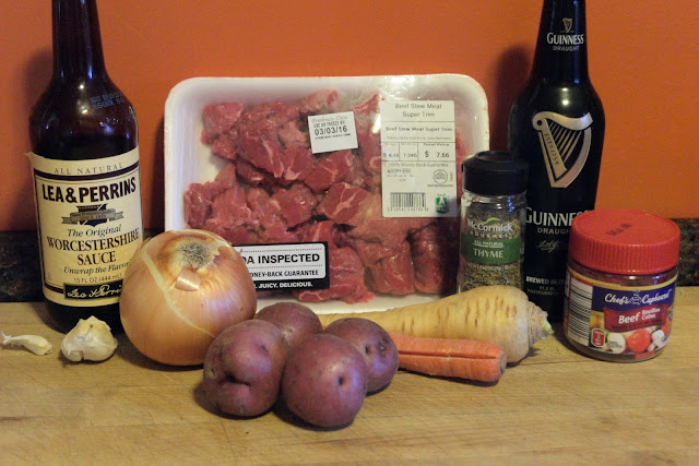 All of the ingredients you need for the Irish Beef Stew.