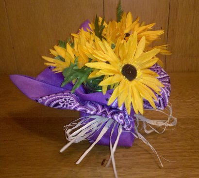 Bandana Floral Centerpiece by The Painted Piglet as seen on Dollar Store Crafts