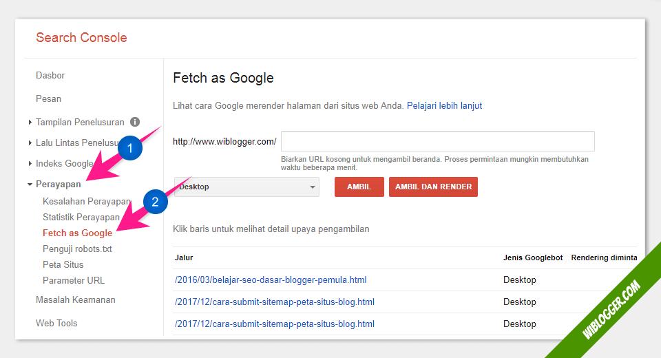 cara agar postingan cepat berada di google