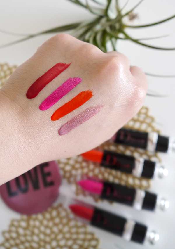 Swatches of Dior Addict Lacquer Plump in 327 Glitterati, 648 Dior Pulse, 677 Disco Dior, 868 J'Adior