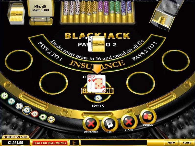 EuroGrand Casino Blackjack Screen