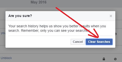 confirm clear search history on facebook
