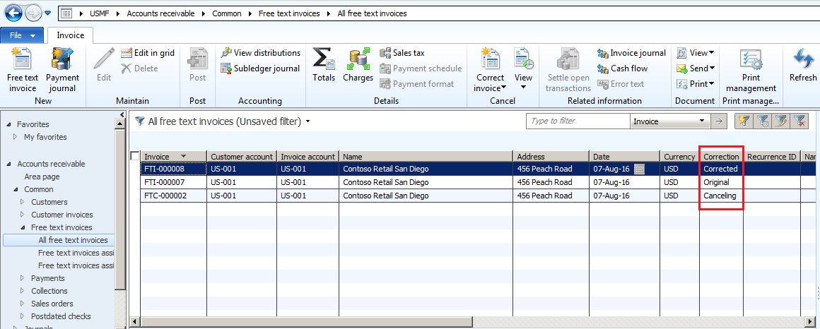 Free Text Invoice Correction In Microsoft Dynamics AX - Free customer invoice