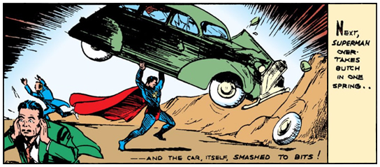 Action Comics (1938) #1 Page 9 Panel 3: Superman does some serious property damage to the bad guy's car.